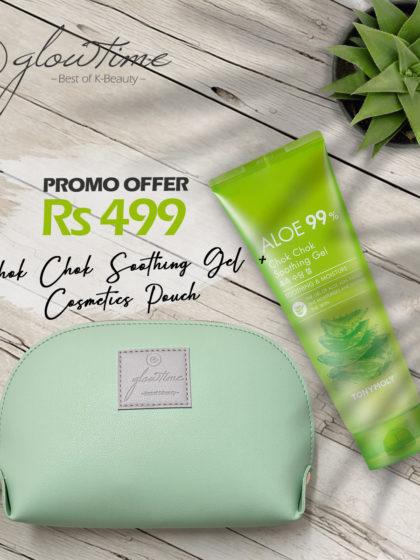 skincare-kbeauty-glowtime-Tony Moly Aloe 99% Chok Chok Gel Mint Green Cosmetics Pouch